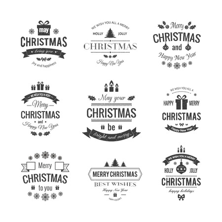 Set typographic christmas vintage labels made in vector.  Merry Christmas and Happy Holidays wishes. Иллюстрация