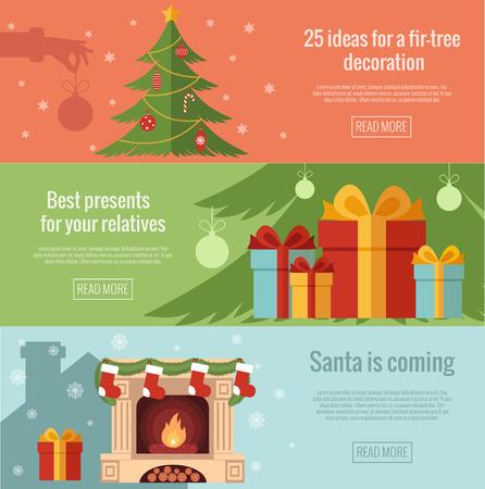 cajas navideñas: Conjunto de banderas planas de Navidad. Design.Christmas planos modernos y de diseño de Año Nuevo hechos en vector