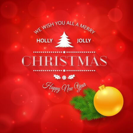 merry christmas greetings logo on colorful background christmas design made in vector stock vector