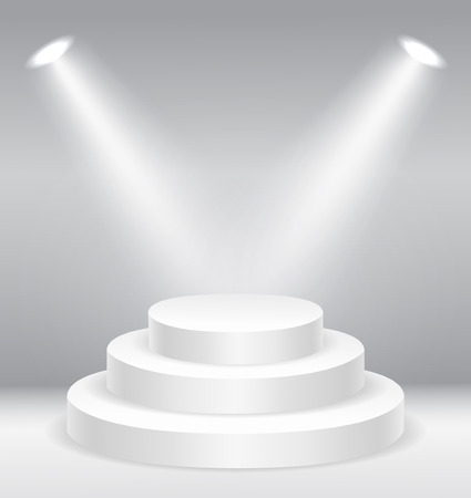 first steps: Illuminated round stage podium   vector illustration