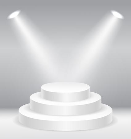 Illuminated round stage podium   vector illustration