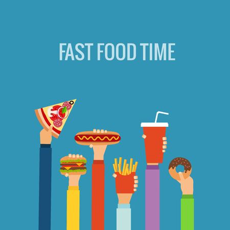 american food: Fast food flat hand concept made in vector. Illustration