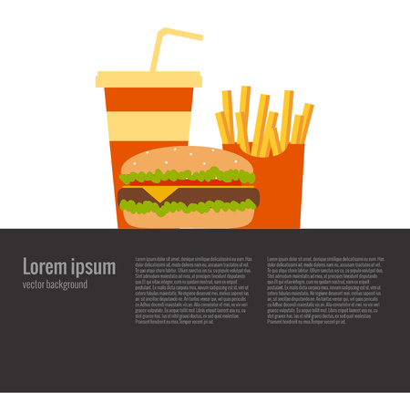 foodstuffs: French fries, humburger and soda takeaway vector background. Fast food flat design