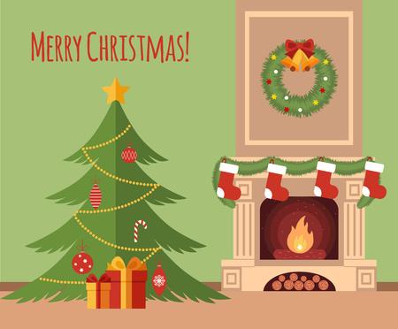 Kerstboom bij de open haard illustratie gemaakt in vlakke stijl
