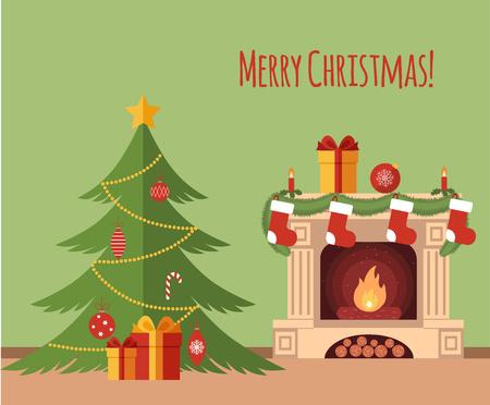 플랫 스타일에서 만든 벽난로 그림으로 크리스마스 트리