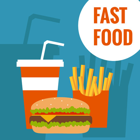 food and beverages: French fries, humburger and soda takeaway vector background. Fast food flat design