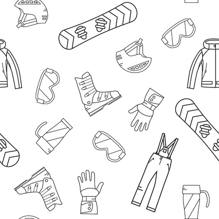 mountain snow: Seamless pattern of winter sport. Snowboard and mountain, snow and recreation, travel outdoor, equipment, clothes.