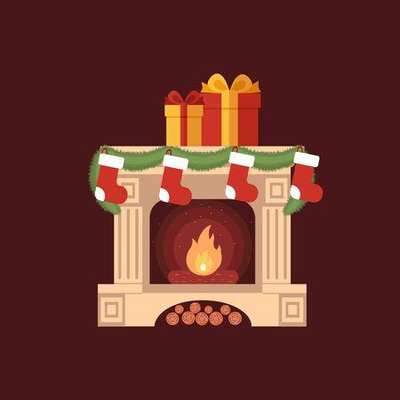 camino natale: Calze di Natale davanti al camino illustrazione fatta in stile piatto