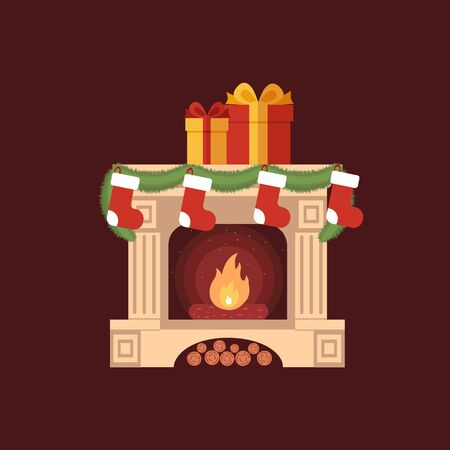 fireplace: Christmas stockings by the fireplace illustration made in flat style Illustration