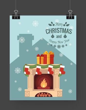 business ideas: Christmas brochure template. Flat design Xmas fireplace,presents