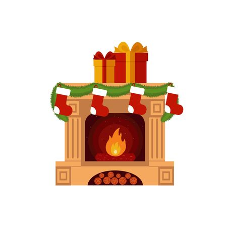 fireplace: Christmas stockings by the fireplace. Flat style illustration isolated on wight.