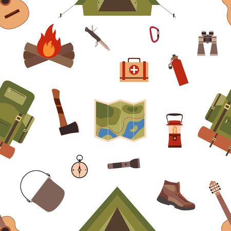 Naadloos patroon kampeeruitrusting symbolen en pictogrammen