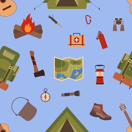 boy scouts tent: Seamless pattern camping equipment symbols and icons
