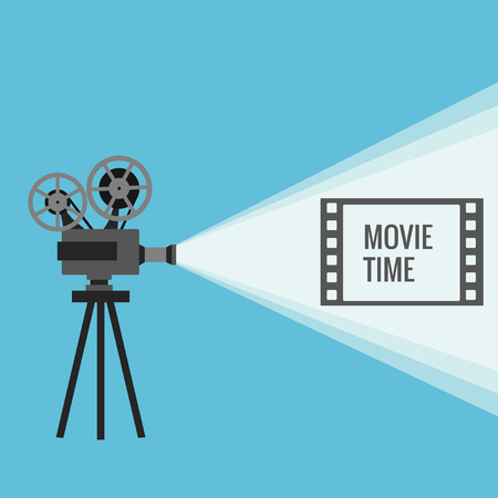 old movie: Retro movie projector with different film reels made in vector Illustration