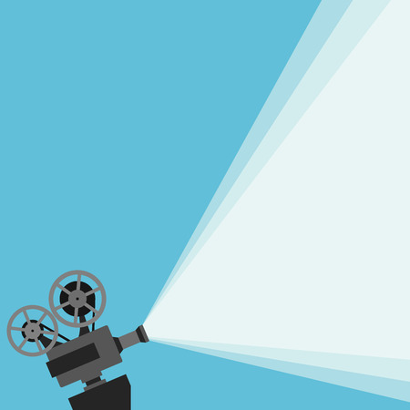 Retro movie projector with different film reels made in vector  イラスト・ベクター素材