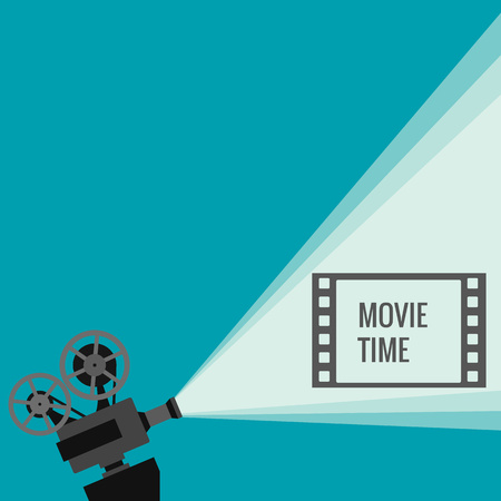 Retro movie projector with different film reels made in vector Çizim