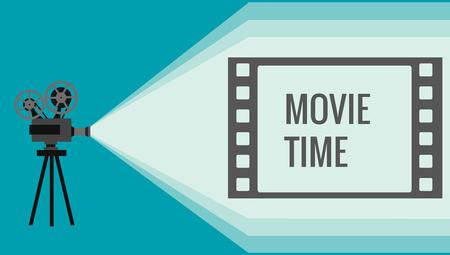 cine: El proyector de película retro con diferentes rollos de película hechos en vector Vectores
