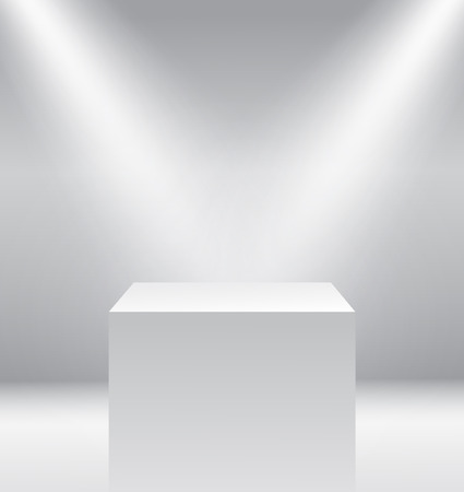 exposition: Pedestal with light source isolated on grey background, vector illustration.