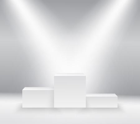 Winnaars podium, voetstuk op een witte achtergrond. vector illustratie