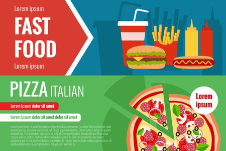 hot drinks: Fast food flat vector horizontal banner set with hamburger, cola, pizza, hotdog ant text elements for your design