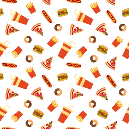 food and beverages: Fast food flat style seamless pattern. Vector background for your design.