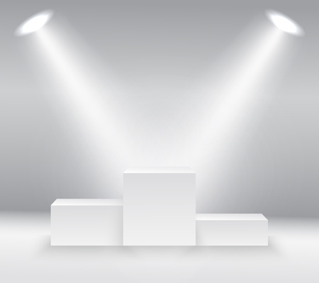 illuminated winners podium isolated on grey background made in vector
