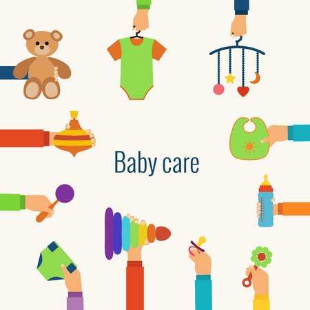 pampers: Baby care flat concept made in vector