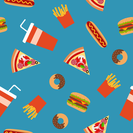 fast eat: Fast food flat style seamless pattern. Vector background for your design.