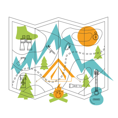 boot: Thin line flat design of camping, tourism, adventure. Vector illustration concept, isolated on white