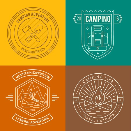 exploration: Camping badges set in thin line style. Camping and outdoor activity logo collection . Adventure, hiking, scout, exploration concept
