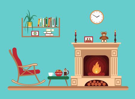 Zimmerinnenarchitektur mit Kamin, Schaukelstuhl Bücherregal, Tisch, Uhr in der Abendzeit. Wohnung Stil Vektor-Illustration Standard-Bild - 49992620