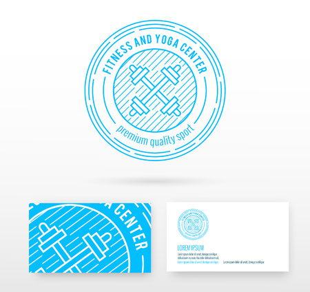 symbol sport: Fitness logo badge vector design elements with business card template editable. Illustration made in mono line style.