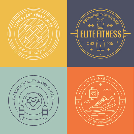 fitness logo: Vector fitness badge and emblems set in mono line style. Sport icons and design elements.
