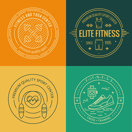 symbol sport: Vector fitness badge and emblems set in mono line style. Sport icons and design elements.