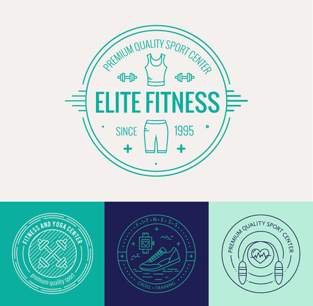 healthy sport: Vector fitness badge and emblems set in mono line style. Sport icons and design elements.