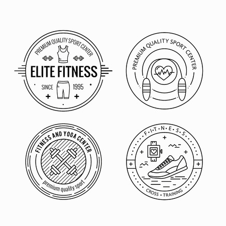 sport club: Vector fitness badge and emblems set in mono line style. Sport icons and design elements.