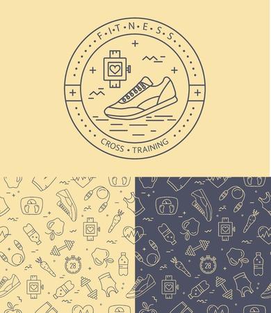 symbol sport: Fitness-Abzeichen und nahtlose Muster im Mono-Line-Stil. Sport-Icons und Hintergrund für Ihr Design.