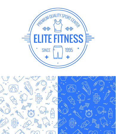 fitness workout: fitness badge and seamless pattern set in mono line style. Sport icons and background for your design. Illustration