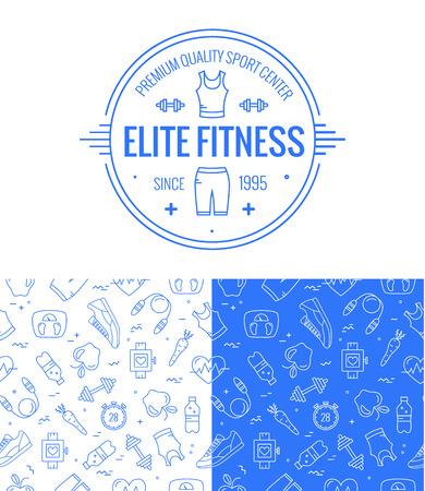 icono deportes: insignia de fitness y sin fisuras patr�n establecido en el estilo de l�nea mono. Iconos del deporte y de fondo para su dise�o.