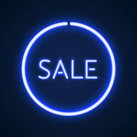 advertise: Sale glowing neon sign. Light background for your advertise, discounts and business Illustration