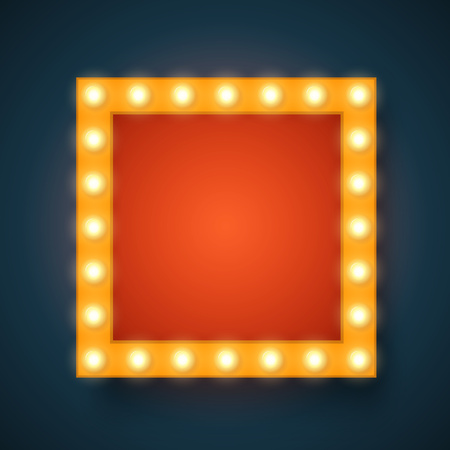 a glamour: realistic 3D light background.   Retro design element square frame glowing with lamps for your Template, Advertising, Promotions.