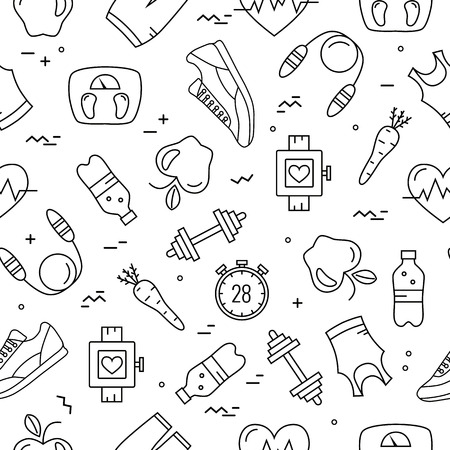 seamless pattern with fitness and sport elements.  Ilustração