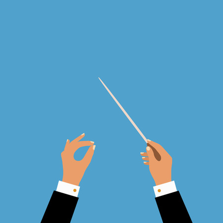 symphony orchestra: Flat concept of music orchestra or chorus conductor.  Illustration