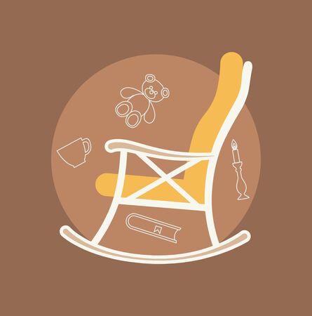 illustration plat du fauteuil à bascule fait dans le vecteur pour votre conception.