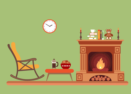 recreation rooms: Room interior design with fireplace, rocking chair books, table, clock in evening time. Flat style vector illustration