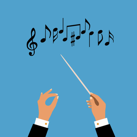 orquesta: concepto plana de orquesta de música o el conductor de coro. Ilustración del vector para el diseño musical Vectores