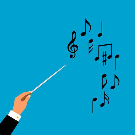 Mieszkanie koncepcja orkiestrze dyrygent chóru muzycznego lub. Ilustracji wektorowych dla muzycznego projektu