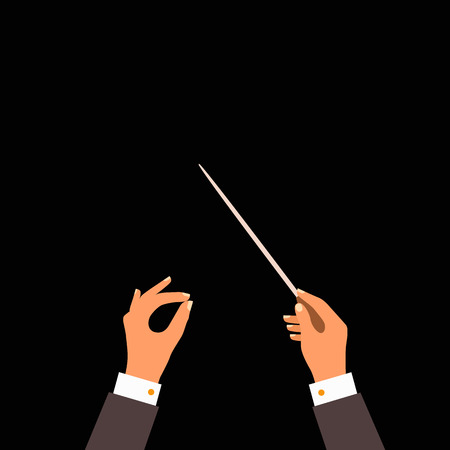 Flat concept of music orchestra or chorus conductor. Vector illustration for musical design Ilustração
