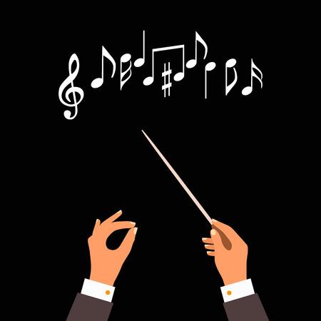 notion plat de la musique orchestre ou ch?ur conducteur. Vector illustration de la conception musicale Vecteurs