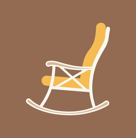 wood chair: rest,  recreation,  furniture, chair, home, icon, illustration, cozy, leisure, house, set,  rocking chair,  rocking-chair, flat, wood, vintage, background, design, abstract, color, backdrop, colorful Illustration